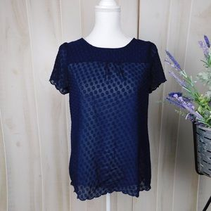 Maeve Navy Sheer Swiss Dot Short Sleeve Blouse